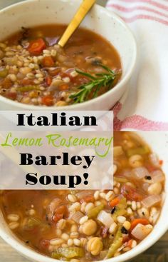 Italian Lemon Rosemary Barley Soup is part of Vegan And Oil Free Italian Lemon Rosemary And Barley Soup - A healthy and delicious lemon rosemary broth with garbanzo beans, fresh vegetables and tomato Easy to make! Vegetarian Italian, Vegetarian Soup, Vegan Soups, Vegetarian Recipes, Healthy Recipes, Vegan Barley Soup, Italian Cooking, Mushroom Barley Soup, Healthy Soup