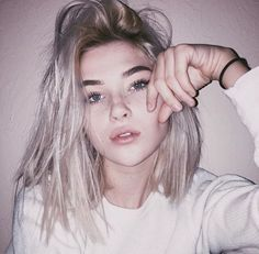 aesthetic, alternative, cool, ghetto, girl, goals, grunge, hair, hipster, indie, pale, pretty, site model, tumblr, white hair, youtube, First Set on Favim.com, okaysage