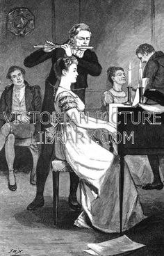 Flute and Keyboard Duet. Victorian illustration showing a man and woman in Regency dress playing a duet on flute and keyboard (spinet? clavichord?). She wears a high-waisted dress with short sleeves and he wears a short jacket and tight trousers. Download high quality jpeg for just £5. Perfect for framing, logos, letterheads, and greetings cards.