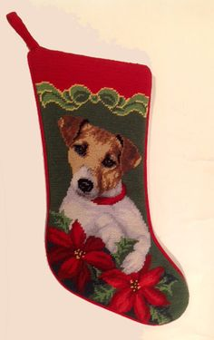 Our Jack Russell Needlepoint Christmas Stocking is hand stitched in fine detail. Over 30 other dog breeds available! Target Christmas Stockings, Dog Christmas Stocking, Needlepoint Christmas Stockings, Christmas Stocking Holders, Jack Russell Terriers, Embroidered Stockings, Pet Stockings, Christmas Animals, Christmas Ideas