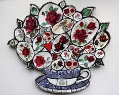 Mosaic Wall Art, Willow Pattern, teacup and saucer