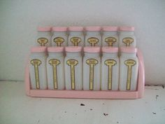 Vintage Griffiths Milk Glass Spice Jars Pink by theartfulcodger, $125.00