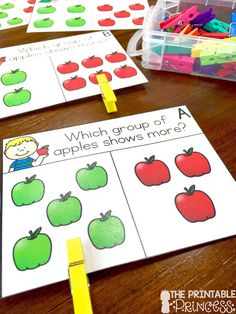 Easy Fall Centers for Kindergarten.you'll find some FREE DIY ideas plus some super easy to prep math and literacy activities for Kindergarten centers. Kindergarten Math Activities, Math Classroom, Teaching Math, Preschool Activities, Center Ideas For Kindergarten, Envision Math Kindergarten, Preschool Apples, Number Sense Kindergarten, Preschool Learning