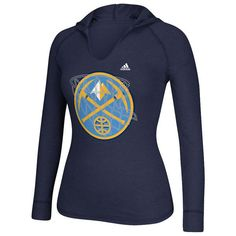 Women's Denver Nuggets adidas Navy Blue Hocus Pocus Hooded T-Shirt ($41) ❤ liked on Polyvore featuring tops, t-shirts, navy, t shirts, graphic shirts, graphic design t shirts, navy blue t shirt and rhinestone t shirts