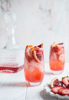 Strawberry Campari Gin Spritz - One Sweet Mess Strawberry Campari Gin Spritz<br> This Strawberry Campari Gin Spritz is the perfect summer cocktail. Sweet strawberry simple syrup is shaken with aromatic gin, bitter Campari and topped with bubbly Prosecco. Drinks Alcohol Recipes, Cocktail Recipes, Alcoholic Drinks, Beverages, Cocktail Drinks, Grapefruit Cocktail, Blueberry Cocktail, Orange Cocktail, Margarita Recipes