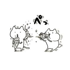#art #illust #picture #creator #original #drawing #unoki #kawaii  #❤ #comic #japan #cat # #猫 #アート #ペン #らくがき #イラスト #絵 #うのき #まるとしっぽ #アイス