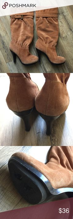 Michael Kors Suede Boots Camel colored suede   buckle strap   No trades MICHAEL Michael Kors Shoes Heeled Boots