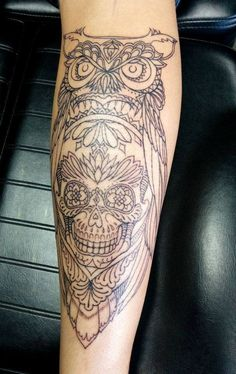 Chronic Ink Tattoo - Toronto Tattoo Custom sugar skull and owl tattoo done by Tegan. Here's a look at the outline done in session #1