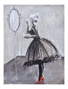 This fun hand-embellished image features a young woman freshening up at a party in her flirty party dress and striking red high heels.