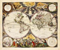 Vintage Old World Map/Image Download Retro Style Design/Resource Old Map Digital Prints/Pieter Goos Nieuwe werelt kaert/New World Map 1672