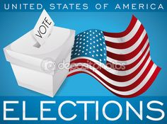 White Ballot Box and Waving American Flag Promoting U.S.A. Elections