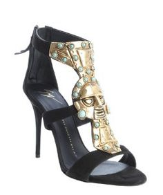 Giuseppe Zanottiblack suede metal and turquoise embellished strappy sandals