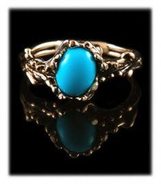 Gold Sleeping Beauty Turquoise Wedding Ring by Nattarika Hartman.