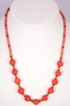 18 Inch Necklace Cherry Red Trade Beads Silk by FiveLeavesFound, $22.00