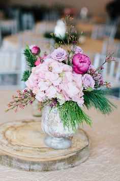 Pink + Lavender flowers including hydrangea, peonies, fir and roses! Winter Colorado Wedding - Sarah Libby