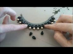 ▶ Beaded Chain Necklace with Sw pearls , crystals, seed beads. Колье из жемчуга. - YouTube