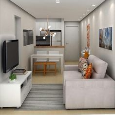 Comfortable and Beautiful TV Room for Your Home Small Apartment Interior, Small Apartment Design, Studio Apartment Decorating, Tiny Living Rooms, Living Room Colors, Home Living Room, Home Room Design, Interior Design Living Room, Living Room Designs