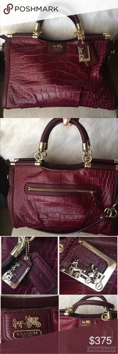 Coach Madison Collection handbag Madison collection by Coach. Beautiful burgundy (rich wine color) gold metal accents. No scratches or stains. Great conditions like new Coach Bags Satchels