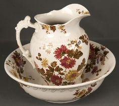 Red Floral Pitcher and Wash Basin / For your primitive blue dry sink.