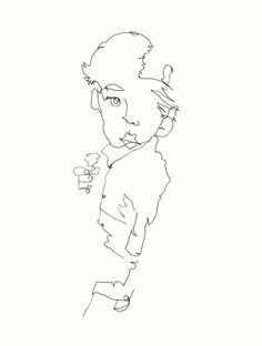 solo child deb yager original blind contour drawing 2014