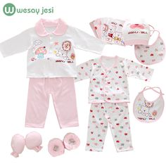 18pcs/set newborn girl clothes 0-3 months long sleeve cotton new born baby boy clothing gift sets suit summer infant clothing