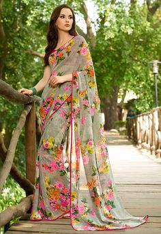 Moss Green Faux Georgette Saree with Blouse Online Shopping: SKK18715