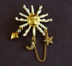 Vintage Celestial Pin Brooch with Sun Moon by MaisonChantalMichael, $15.00