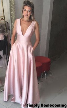A Line V Neck Satin Floor Length Pockets Pink Long Prom Dresses