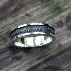 Mens Wedding Band, Rough Surface, high Polish Edge, Oxidized, Sterling Silver by ChrisMuellerJewelry on Etsy $135.00