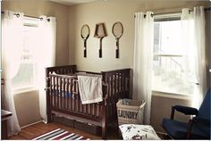 Brown Tennis Nursery Using Tennis Inspired Themes To Decorate a Baby's and Childs Room  #Homedecor #Baby #interior