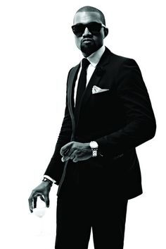 Another great icon for me is Kanye West. Kanye West had and has a very large influence on the music industry in the past years. Before he was a famous rapper he produced a lot of songs for rappers. For me, after he started rapping, he perfectly helped the Black Suits, Black Men, Kanye West, Kardashian, Outfits Hombre, M Anime, Suit And Tie, Celebs, Celebrities