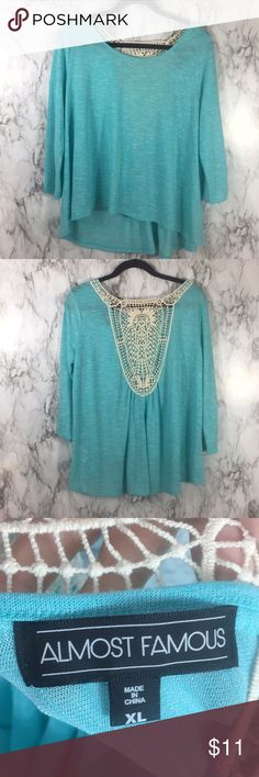Almost famous blue shirt Super cool loose fit cut out back size XL Almost Famous Tops