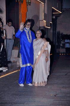 Amitabh Bachchan and Jaya Bachchan at their Diwali bash. #Bollywood #Fashion #Style #Beauty #Handsome