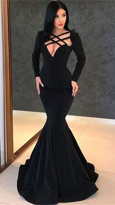 Sexy Black Long Sleeve Evening Gowns Mermaid Long Prom Gowns Our Wedding Plus Long Sleeve Evening Gowns, Long Prom Gowns, Mermaid Prom Dresses, Bridesmaid Dresses, Dress Long, Black Mermaid Dress, Short Prom, Tight Dresses, Formal Dresses