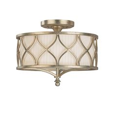 This Fifth Avenue collection 3-light semi flush mount light features a beautifully hand painted winter gold finish that will complement many transitional decors. The metal work and frosted glass diffu