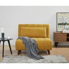 Shop Carson Carrington Taghusa Convertible Chair - On Sale - Overstock - 29230433 - Mustard Small Space Living, Living Spaces, Small Spaces, Living Rooms, Futon Chair, Sleeper Chair Bed, Bed Sizes, Furniture Deals, Living Room Furniture
