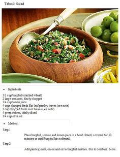 Tabouli salad Healthy Salad Recipes, Delicious Recipes, Middle Eastern Dishes, Clean Eating, Healthy Eating, Incredible Edibles, Salad Ingredients, Vegetable Recipes, Food For Thought