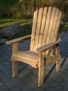 Wooden Patio Chairs, Wooden Picnic Tables, Wood Adirondack Chairs, Adirondack Chair Plans Free, Wooden Patios, Outdoor Chairs, Plywood Furniture, Rustic Log Furniture, Outdoor Furniture Plans