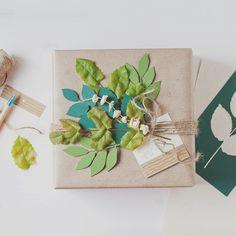 via instagram http://www.anastasiamariecards.com/blog/gift-wrap-fresh-leaves/