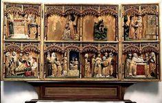 Altar piece. Östergötland, Östra Ny. Northern German work. Third quarter of the 15th century.