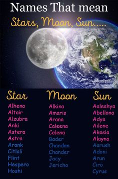 Sun, Moon And Stars baby names - A list of cute baby boy and girl names that mean sun, moon or stars. names Sun, Moon And Stars baby names - A list of cute baby boy and girl names that mean sun, moon or stars. - Mary's Secret World