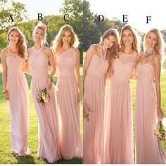 2019 Pastel Pink Cheap Long Lace Chiffon Bridesmaid Dresses ea84d1834e5d