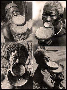 French Equatorial Africa | Vintage postcards and photographic prints of women from the Plateau region wearing double labrets/lip plates.