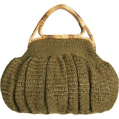 Barneys New York Gathered Raffia Bag - Bronze Green by None, via Polyvore