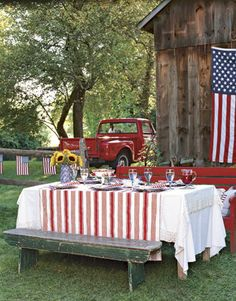 Decor Ideas - Patriotic party - make it party perfect with colorful material - hang lags around.