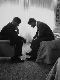 Presidential Candidate John Kennedy Conferring with Brother and Campaign Organizer Bobby Kennedy Photographic Print by Hank Walker at AllPos...