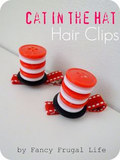 Seuss hair clips from FancyFrugalLife Hat Hairstyles, Pretty Hairstyles, Dr Seuss Hat, Dr Suess, Bow Hair Clips, Hair Bows, Dr Seuss Shirts, Crazy Hair Days, Green Eggs And Ham