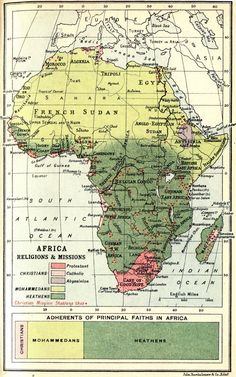 "1913 Religious Map of Africa by John Bartholomew and Son, Edinburgh, Scotland My favorite part is ""heathens"". Historical Maps, Historical Pictures, World History Lessons, By Any Means Necessary, Map Globe, Alternate History, Vintage Maps, Vintage Prints, Old Maps"