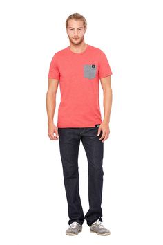 TRAJIQ GUYS POCKET TEE - HEATHER RED/GRAY HEATHER
