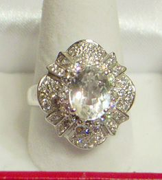 Vintage White Sapphire Ring  Ballerina Style  925 by JanEleven
